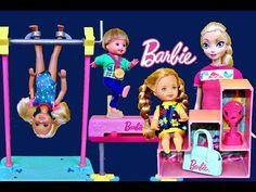 Frozen Barbie Gymnastics Class with Elsa Kids Chelsea Doll Gymnast Set Parody DisneyCarToys