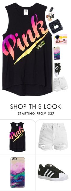 """""""missing my bsf yeoo ."""" by qveenkyndall16 ❤ liked on Polyvore featuring Topshop, Casetify and adidas"""