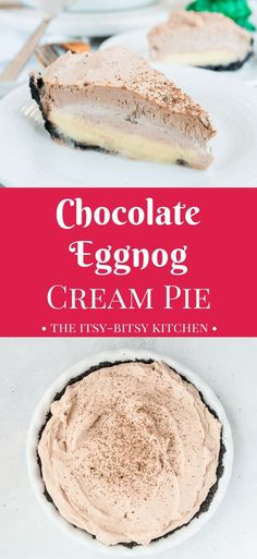 This no bake chocolate eggnog cream pie has a sweet and crunchy Oreo crust, a creamy eggnog custard layer, and a layer of sweet chocolate whipped cream. End your Christmas dinner in style! No Bake Treats, No Bake Desserts, Easy Desserts, Delicious Desserts, Dessert Recipes, Healthy Desserts, Easy Pie Recipes, Tart Recipes, Yummy Recipes
