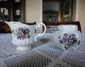 Windsor China Sugar and Cream Set with Purple Violets