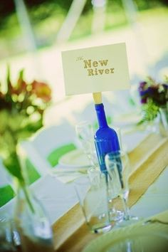 Fun table place cards  ---every table is named for a place in WV LOVE THIS IDEA!