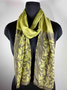 Leaf Pattern Batik Silk Stole in Olive and Cream - Vegetable Dyed Silk Stole