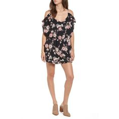 Women's Bp. Floral Cold Shoulder Romper (880 MXN) ❤ liked on Polyvore featuring jumpsuits, rompers, black placed floral, flower romper, ruffle rompers, cut out romper, cutout romper and floral rompers