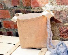 Luxury HESSIAN JUTE BURLAP Canvas Knitting by KnittingBagAndCase