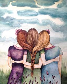 Original art work watercolor  Tree sisters  by PrintIllustrations, $200.00