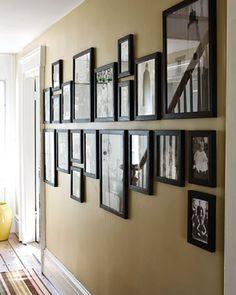 Photo Wall in Hallway - Pinterest