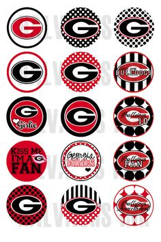 Printable bottle cap Stickers georgia | Georgia Bulldogs INSPIRED Bottle Cap Images Digital Printable File 4x6 ...