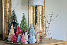 Bottle Brush Tree Collection.....displayed on a silver tray.....like the colors!