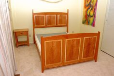 C.B. Fine Cabinets: Custom Bed with Night Stand, Cherry with Bookmatched Cherry panels on Maple Cores.