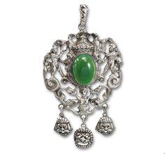 Silver Chrysoprase Gothic Putti Peruzzi Pendant Necklace   Boylerpf Antique Jewelry
