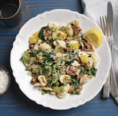 orecchiette with leeks, spinach, sausage, and peas