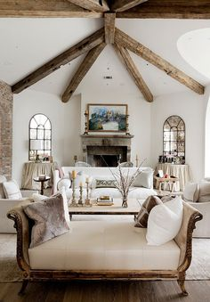 Houston home.. #beamed #ceiling & lots of #white - Liked @ www.homescapes-sd.com #homescapes #staging #contemporarylivingroom