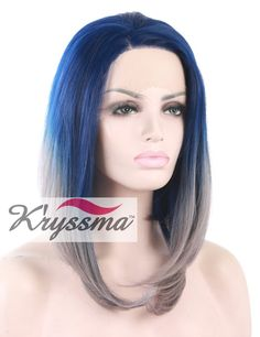 K'ryssma Halloween 2 Tones Ombre Synthetic Lace Front Bob Wig Straight Silver Wig Blue Roots Heat Resistant Fiber Hair For Christmas 12 Inches -- This is an Amazon Affiliate link. Check this awesome product by going to the link at the image.