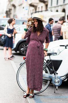 wrap dress street style via @WhoWhatWear