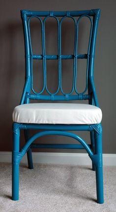 Faux Bamboo Chair - Peacock Teal. $100.00, via Etsy.