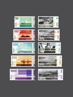 Norway's New Banknotes  The Central Bank of Norway announced on October 7 two winner proposals for the design of the new banknotes. Snøhetta's design will be the foundation for the backsides of the notes, while The Metric System's design will be the starting point for the fronts.