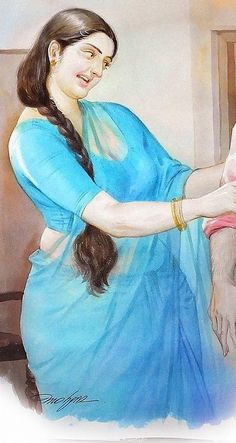 Indian Women Painting, Indian Art Paintings, Sexy Painting, Woman Painting, Village Girl, Romance Art, Watercolor Landscape Paintings, Most Beautiful Indian Actress, Indian Beauty Saree