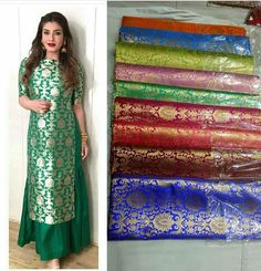 For details / order please dm or Whatsapp on Note:- only fabric not selling full stitch only. Pakistani Dresses, Indian Dresses, Indian Outfits, Kurta Designs, Blouse Designs, Indian Attire, Indian Wear, Indian Designer Suits, Brocade Dresses