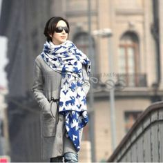 Wool Scarves-Ladies Long Hair line warm scarf in autumn and winter