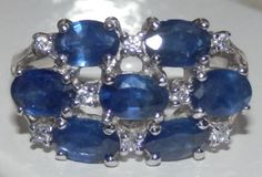 3-60-tcw-NATURAL-UNTREATED-Blue-Sapphire-Cluster-ring-925-Sterling-Silver