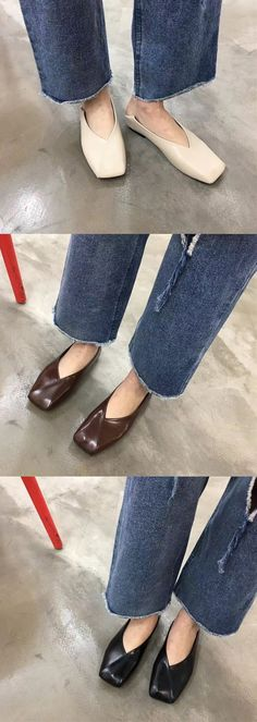 $10.78 Square Heel Pure Color Slip On Flat Shoes For Women