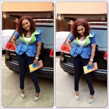 Mercy Aigbe in an Ankara jacket