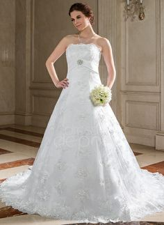 A-Line/Princess Strapless Chapel Train Satin Lace Wedding Dress With Sash Beading Crystal Brooch Sequins (002000123) http://www.dressdepot.com/A-Line-Princess-Strapless-Chapel-Train-Satin-Lace-Wedding-Dress-With-Sash-Beading-Crystal-Brooch-Sequins-002000123-g123 Wedding Dress Wedding Dresses #WeddingDress #WeddingDresses