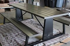 Picnic Table Bench, Outdoor Picnic Tables, Metal Furniture, Powder Coating, Entryway Tables, Rust, Website, Landscape, Stylish
