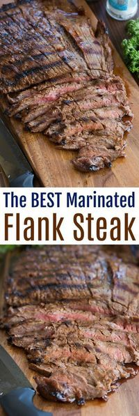 This flank steak is my favorite steak recipe of all time! Grilled marinated flank steak with the BEST flavor. Just 5 simple ingredients. It couldn't be easier and is always a huge hit. The BEST, easiest marinated flank steak recipe! Skirt Steak Recipes, Steak Marinade Recipes, Grilling Recipes, Meat Recipes, Cooking Recipes, Recipes With Flank Steak, Water Recipes, Vegetarian Grilling, Healthy Grilling