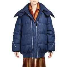 Stella McCartney Long Sleeve Denim Puffer Jacket (£465) ❤ liked on Polyvore featuring outerwear, jackets, apparel & accessories, denim blue, blue jackets, hooded jacket, stella mccartney jacket, puffer jacket and blue zipper jacket