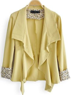 Yellow Leopard Print Lapel Long Sleeve Cardigan Suits - Sheinside.com  From sheinside.com