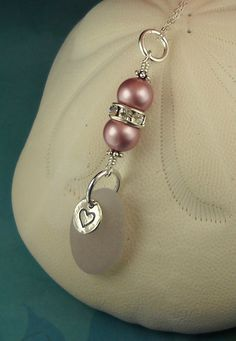 Valentine Sea Glass Necklace Pink Heart by seaglassgems4you, $42.00
