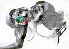 """Saatchi Art is pleased to offer the artwork, """"The Kiss,"""" by Ioana Serban. Original New Media: Ink on Paper. Kiss Art, New Media, Saatchi Art, Artworks, Lion Sculpture, Ink, Artist, Artists, India Ink"""