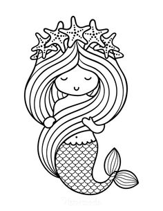 Mermaid Coloring Pages, Cute Coloring Pages, Cartoon Coloring Pages, Disney Coloring Pages, Coloring Sheets, Coloring Pages For Kids, Coloring Books, Art Drawings For Kids, Drawing For Kids