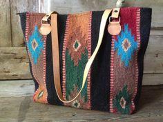 Wool Kilim Leather Tote Handbag Satchel by JansVintageStuff