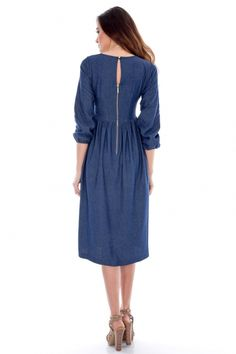 Rochie Roh Boutique midi din blug - DR2351 albastru Boutique, Casual, Dresses, Fashion, Vestidos, Moda, Fashion Styles, Dress, Fashion Illustrations