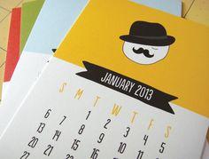 Populaire (via Mustache Calendar by twopoochpaperie on Etsy) 2013 Calendar, Calendar Ideas, Kalender Design, Print Design, Graphic Design, Calendar Wallpaper, Desk Calendars, High Quality Wallpapers, W 6