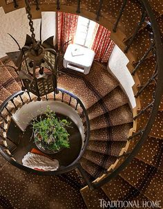 """Designer India Miller gave the mansion's dramatic spiral stair tower a fresh twist with Karastan carpet that mimics antelope hide. """"Animal p. Antelope Rug, Grand Staircase, Winding Staircase, Spiral Staircases, H & M Home, Stairway To Heaven, Rug Store, Carpet Stairs, Carpet Runner"""