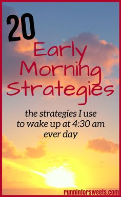 Free printable! Download the 20 strategies that I used to wake up at 4:30 am and workout in the morning every day. After years of hitting snooze, I had nearly given up trying to wake up early and have a productive morning routine. These 20 strategies were game changing. #morningroutine #morningprintable #morningworkouts