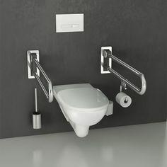 Stützklappgriffe bieten zahlreiche Einsatzmöglichkeiten. Die aus Edelstahl gefertigten Safe Stützklappgriffe von Etac bieten Ihnen ein hohes Mass an Sicherheit und zahlreiche Einsatzmöglichkeiten in Bad und WC. Der Stützklappgriff unterstützt Sie beim Ein- und Ausstieg in die Badewannne oder Dusche sowie auf der Toilette beim Hinsetzen und Aufstehen. Toilet, Sink, Bathroom, Design, Home Decor, Stand Up, Cover Up, Safety, Stainless Steel