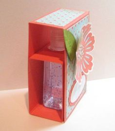 Hand sanitizer gift box - she provides a template with measurements - bjl Stampin' Up! 3d Paper Crafts, Paper Gifts, Card Crafts, Foam Crafts, Paper Art, Craft Gifts, Diy Gifts, Stampin Up, 3d Templates