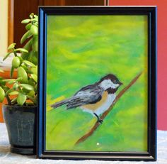 Framed Art Print - Chickadee Art - Bird - Nature Lovers - Small Wall Art - Print of Pastel Painting - Cottage Art - Nature Art - Songbird by CreateThriveGrow on Etsy
