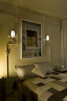 Vitor Penha - industrial chic rústico rustic reuso de design iluminação lightning tubulação aparente exposed pipes quarto bedroom