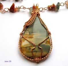 Copper Wire Wrapped Jasper on a Handcrafted Copper Chain with Agate
