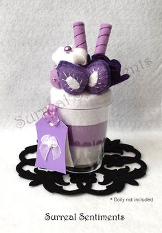 Lavender Strawberry Parfait Felt Cup with mini Hand-painted Card: Comes with gift box Perfect Mother's Day Gift