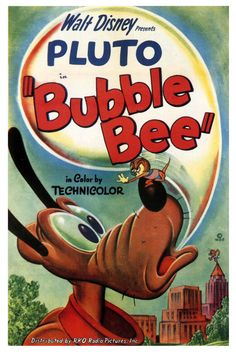 """Bubble Bee"" Pluto Spike the Bee Disney Cartoon short movie poster Walt Disney Movies, Classic Disney Movies, Disney Movie Posters, Classic Movie Posters, Cartoon Posters, Retro Cartoons, Classic Cartoons, Disney Cartoons, Disney Art"