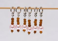 Stitch Markers, Pink Pearls, Brown Beads, snagless