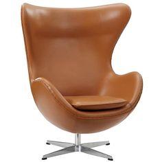 Terracotta Italian Leather With Aluminium Legs Glove Lounge Chair