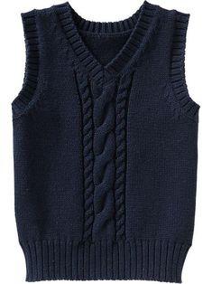 Cable-Knit Sweater Vests for Baby pullunder, Knitting Patterns Boys, Knitting For Kids, Knitting Designs, Red Vest Mens, Denim Vest Men, Tweed Vest, Knit Baby Sweaters, Boys Sweaters, Sweater Vests