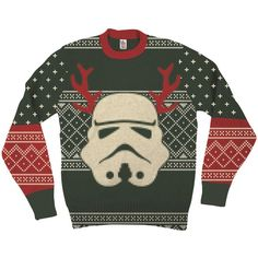 Star Wars Stormtrooper With Reindeer Antlers Adult Green Ugly... ($65) ❤ liked on Polyvore featuring tops, sweaters, christmas sweater, christmas tops, green sweater and green top
